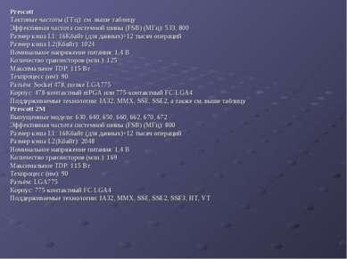 Prescott Тактовые частоты (ГГц): см. выше таблицу Эффективная частота системн...