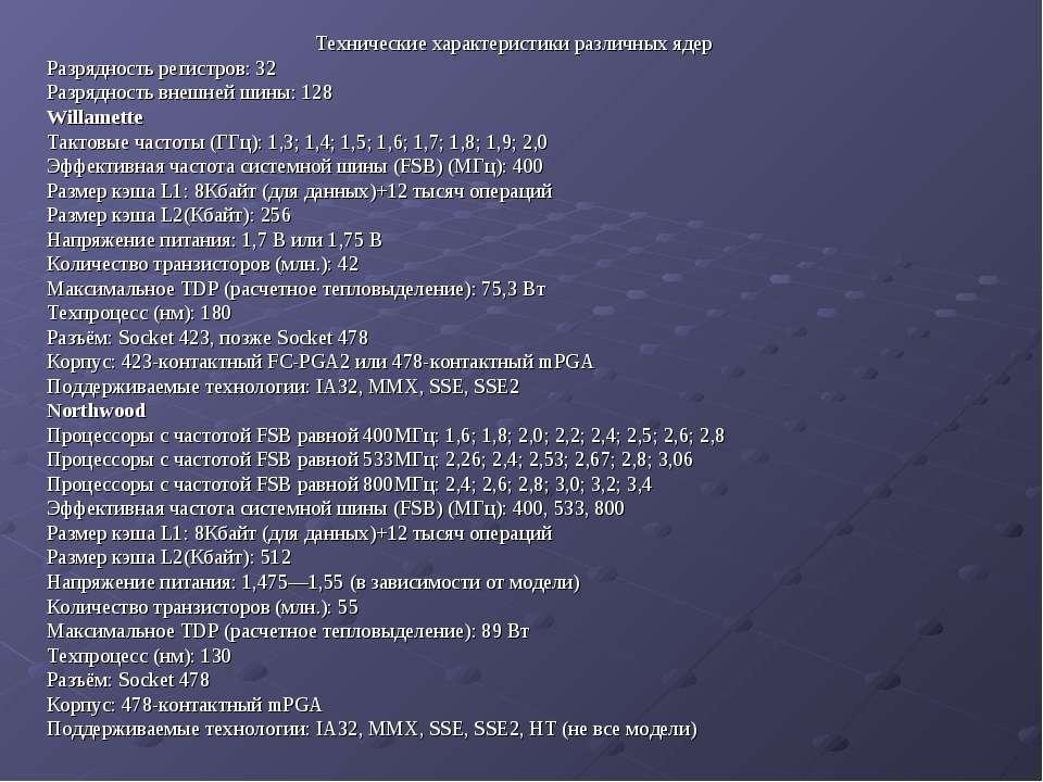 Технические характеристики различных ядер Разрядность регистров: 32 Разряднос...