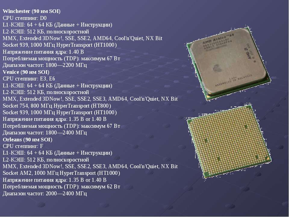 Winchester (90 нм SOI) CPU степпинг: D0 L1-КЭШ: 64 + 64 КБ (Данные + Инструкц...