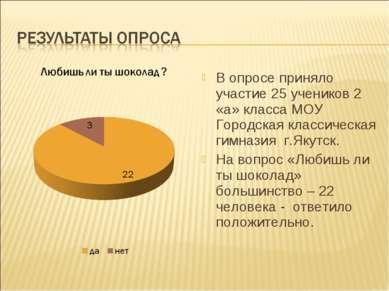В опросе приняло участие 25 учеников 2 «а» класса МОУ Городская классическая ...