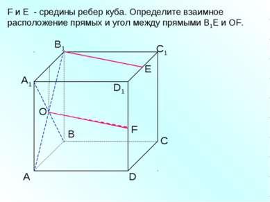 А D С В B1 С1 D1 А1 F E F и E - средины ребер куба. Определите взаимное распо...