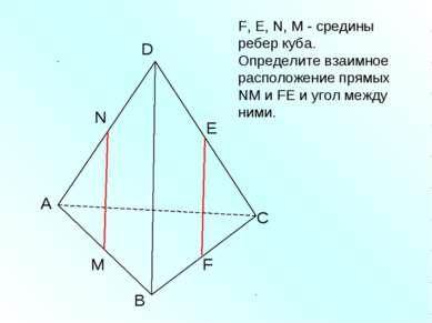 А В С D N M E F F, Е, N, M - средины ребер куба. Определите взаимное располож...