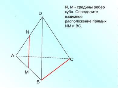 А В С D N M N, M - средины ребер куба. Определите взаимное расположение прямы...