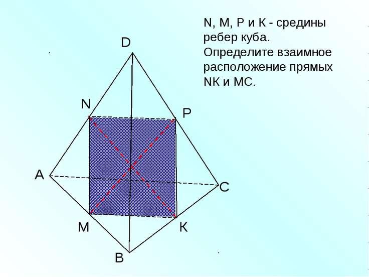 А В С D N M N, M, Р и К - средины ребер куба. Определите взаимное расположени...