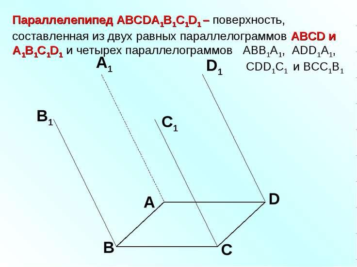 Параллелепипед АВСDA1B1C1D1 – поверхность, составленная из двух равных паралл...