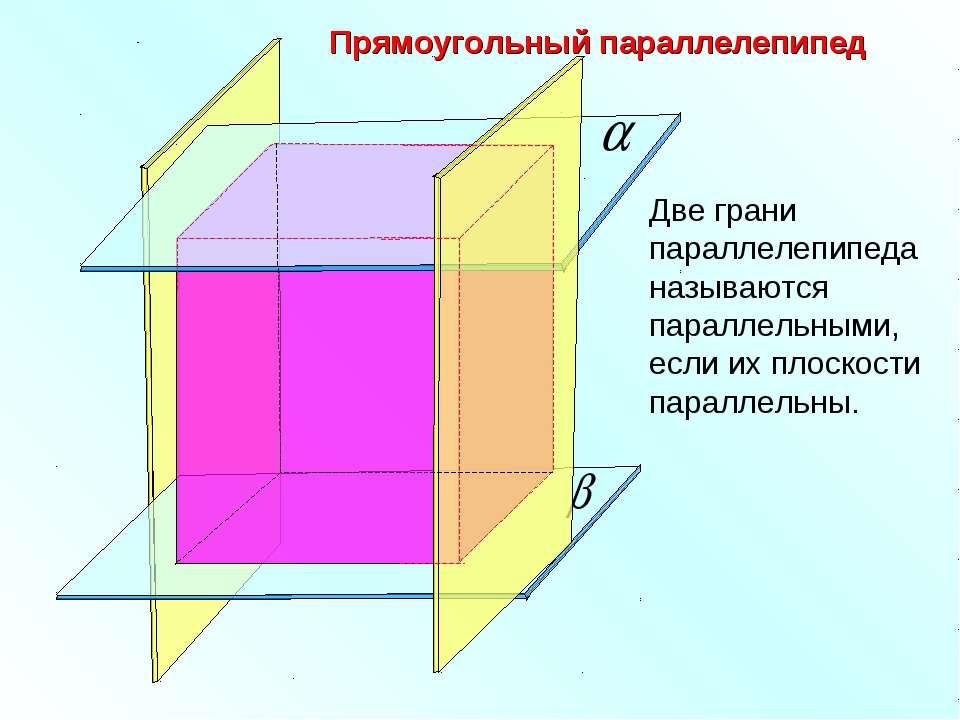 Прямоугольный параллелепипед Две грани параллелепипеда называются параллельны...