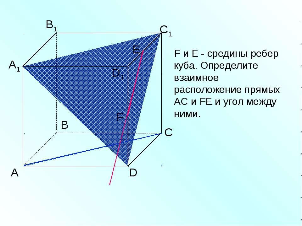 А D С В B1 С1 D1 А1 F F и Е - средины ребер куба. Определите взаимное располо...