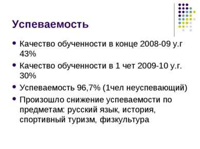 Успеваемость Качество обученности в конце 2008-09 у.г 43% Качество обученност...