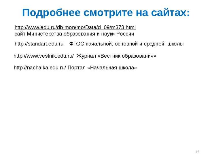 Подробнее смотрите на сайтах: http://standart.edu.ru ФГОС начальной, основной...