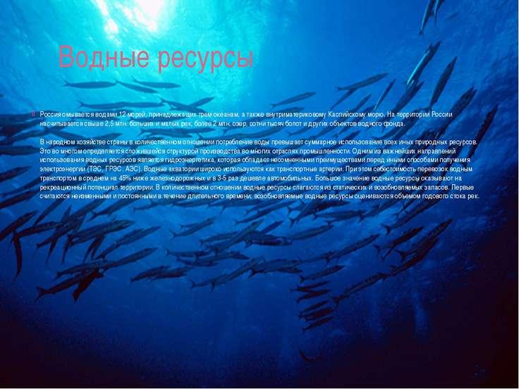 Водные ресурсы Россия омывается водами 12 морей, принадлежащих трем океанам, ...