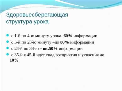 Здоровьесберегающая структура урока с 1-й по 4-ю минуту урока -60% информации...
