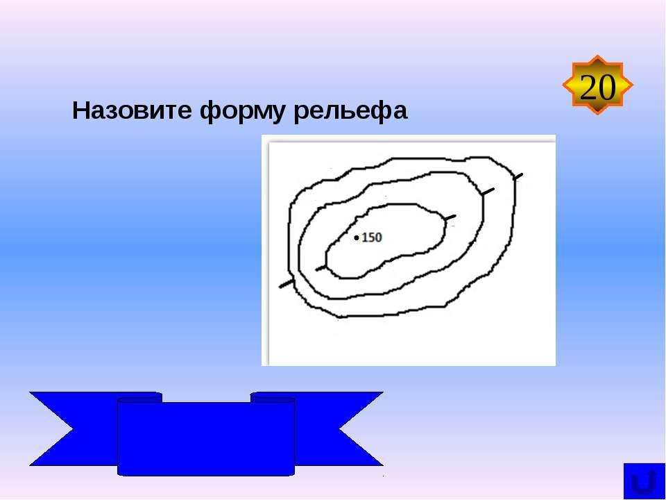 Назовите форму рельефа 20 Холм