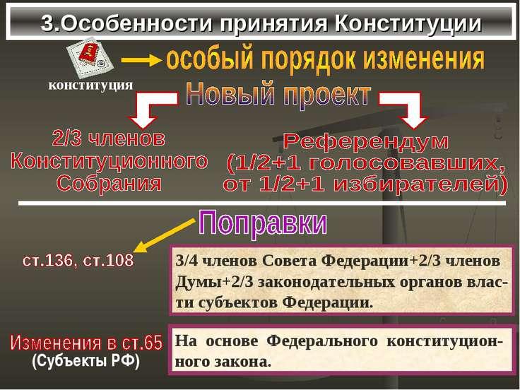 3.Особенности принятия Конституции 3/4 членов Совета Федерации+2/3 членов Дум...