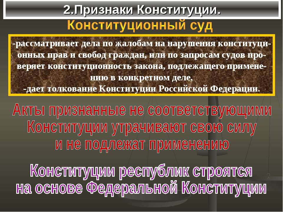 2.Признаки Конституции. -рассматривает дела по жалобам на нарушения конституц...