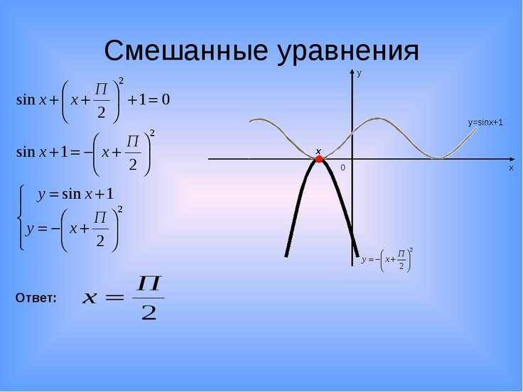 Смешанные уравнения х у 0 y=sinx+1 x