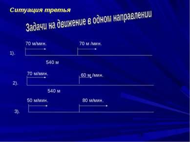 Ситуация третья 540 м 70 м/мин. 70 м /мин. 1). 2). 70 м/мин. 60 м /мин. 540 м...