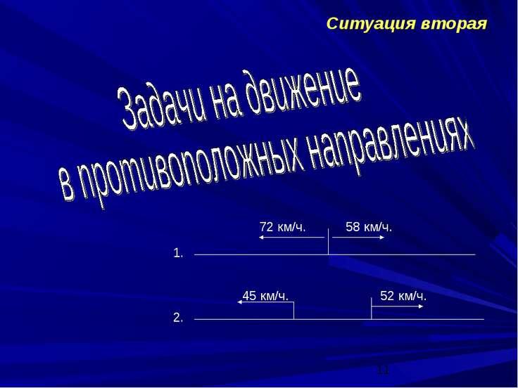 Ситуация вторая 1. 2. 72 км/ч. 58 км/ч. 45 км/ч. 52 км/ч.