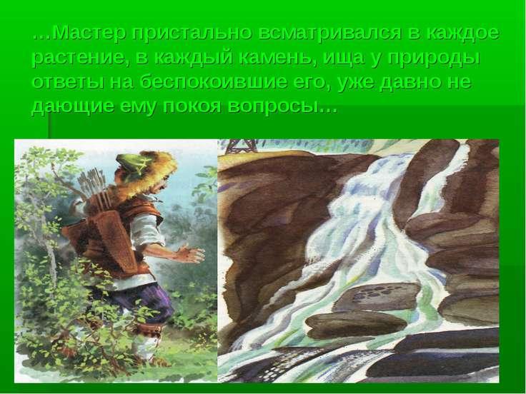 …Мастер пристально всматривался в каждое растение, в каждый камень, ища у при...