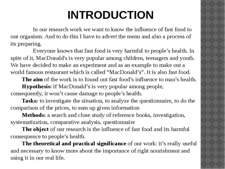 fast food reality term paper Fast food was indeed an adolescent gig in the 1950s and 1960s, when the paper hat symbolized the classic short-term, entry-level job in reality, any such wage increase would probably be incremental and could be absorbed in large part by lowering the fees collected by parent companies from.