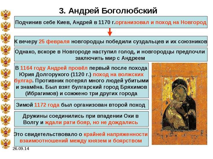 * 3. Андрей Боголюбский Подчинив себе Киев, Андрей в 1170 г.организовал и пох...