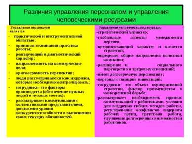 Различия управления персоналом и управления человеческими ресурсами Управлени...