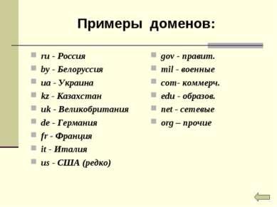 Примеры доменов: ru - Россия by - Белоруссия ua - Украина kz - Казахстан uk -...