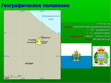 Географическое положение S=60,5 кв. км Климат: субтропический средиземноморск...