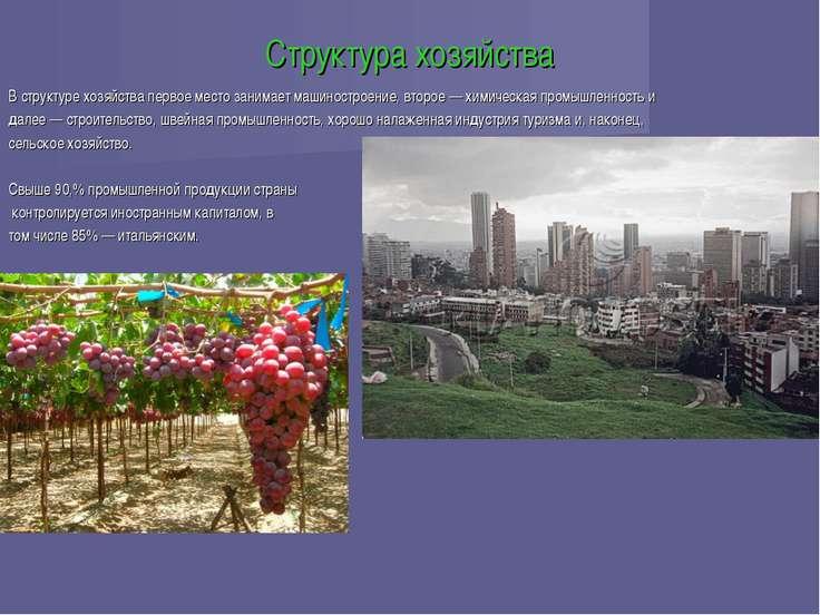 Структура хозяйства В структуре хозяйства первое место занимает машиностроени...