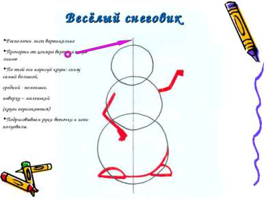 Весёлый снеговик Расположи лист вертикально Прочерти от центра вертикальную л...