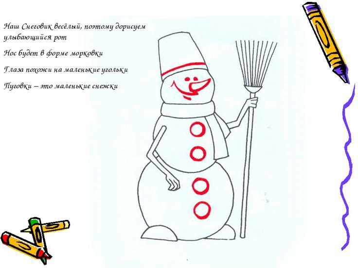 Наш Снеговик весёлый, поэтому дорисуем улыбающийся рот Нос будет в форме морк...