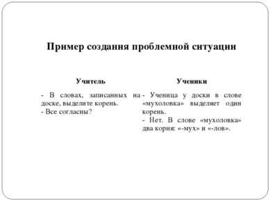 Пример создания проблемной ситуации Учитель Ученики - В словах, записанных на...