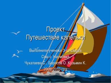 Проект Путешествие капельки Выполнили ученики 3-го класса Сош с. Наумовка Чук...
