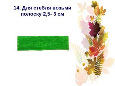 14. Для стебля возьми полоску 2,5- 3 см