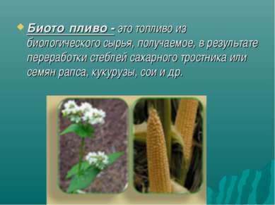 Биото пливо-это топливо из биологического сырья, получаемое, в результате п...