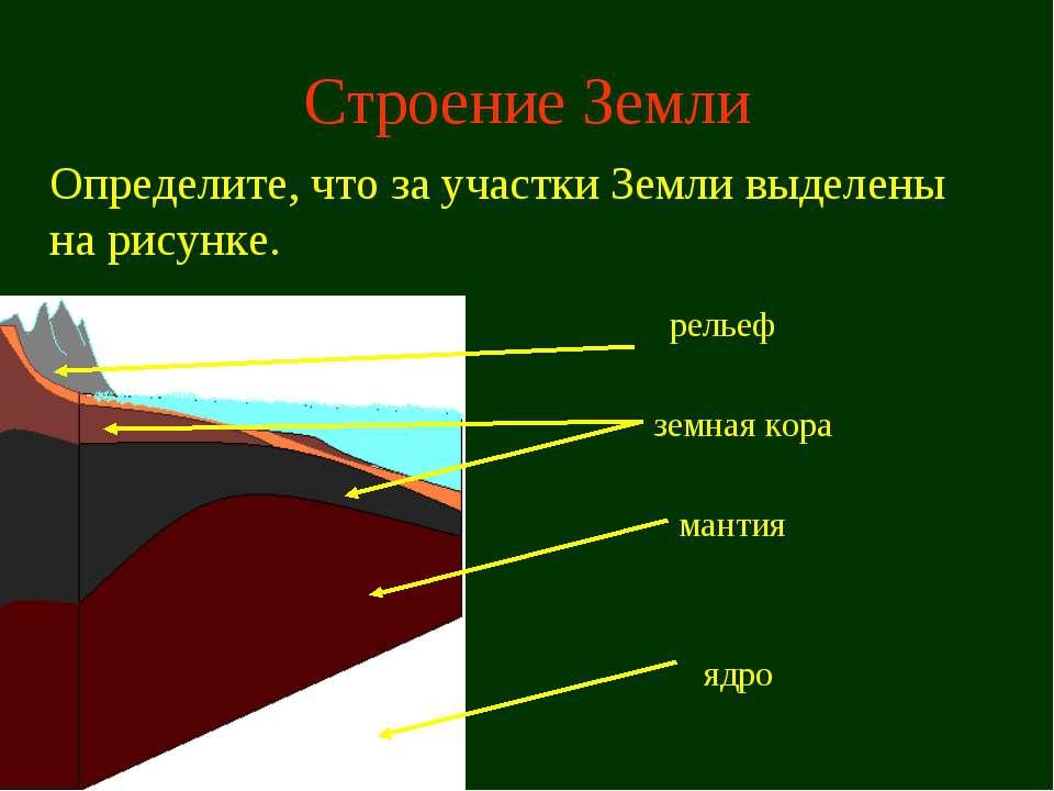 Строение Земли Определите, что за участки Земли выделены на рисунке. мантия з...