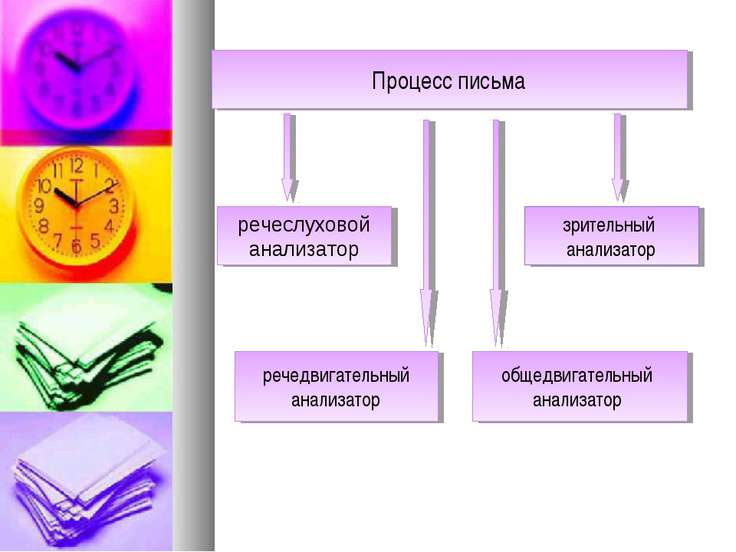 Процесс письма речедвигательный анализатор зрительный анализатор общедвигател...