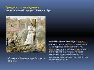 Процесс и осуждение Инквизиционный процесс Жанны д'Арк Сожжение Жанны д'Арк. ...