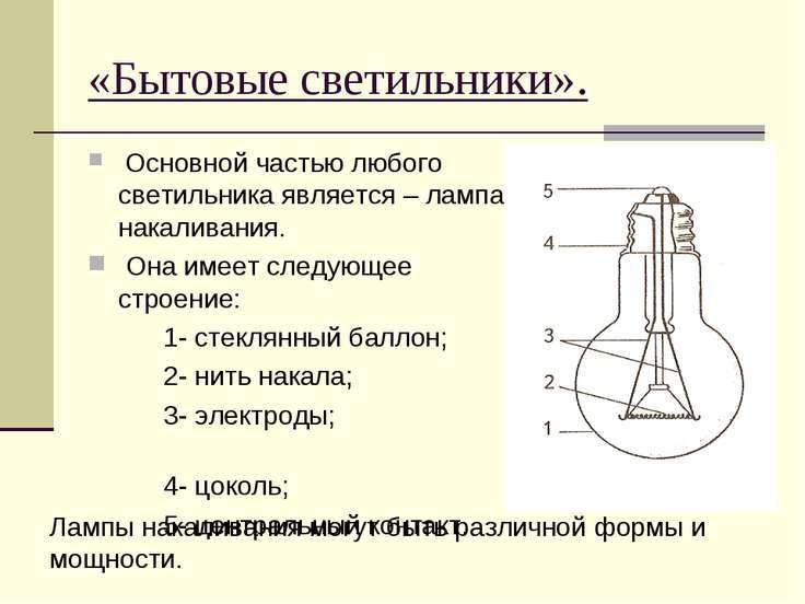 «Бытовые светильники». Основной частью любого светильника является – лампа на...