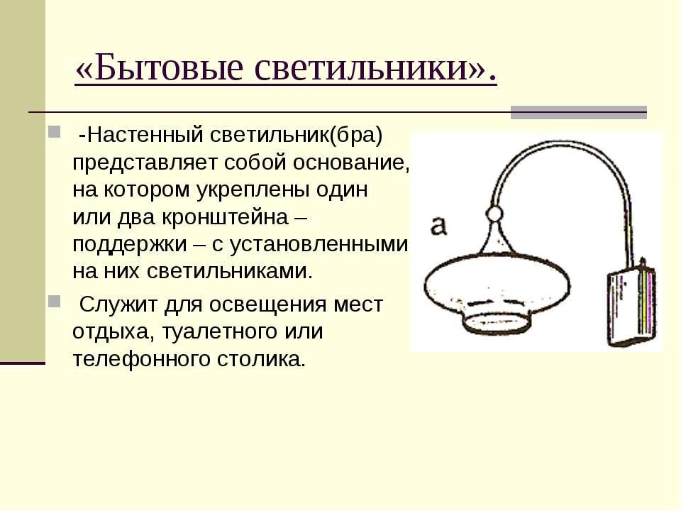 «Бытовые светильники». -Настенный светильник(бра) представляет собой основани...
