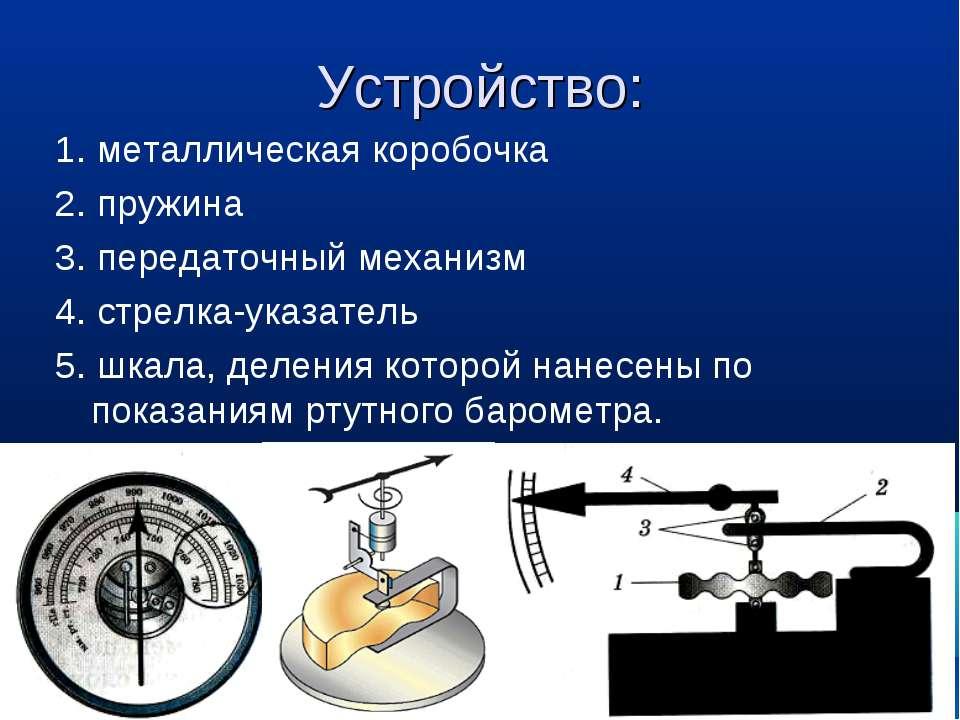 Устройство: 1. металлическая коробочка 2. пружина 3. передаточный механизм 4....