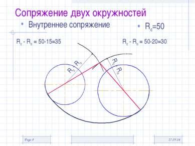 * Page * Сопряжение двух окружностей Внутреннее сопряжение Rс=50 Rс - Rо Rс -...