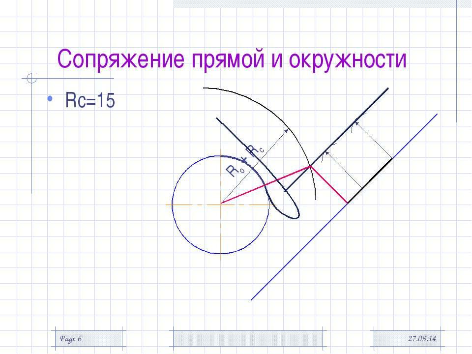 * Page * Сопряжение прямой и окружности Rс=15 Rо + Rс