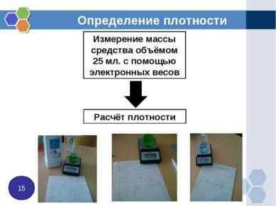 Определение плотности 15 Измерение массы средства объёмом 25 мл. с помощью эл...