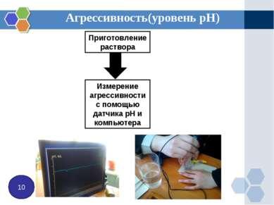 Агрессивность(уровень рН) 10 Приготовление раствора Измерение агрессивности с...
