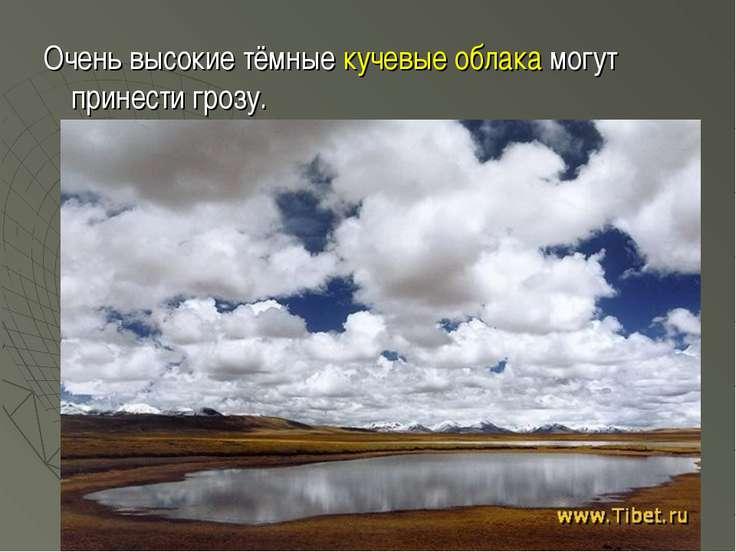 Очень высокие тёмные кучевые облака могут принести грозу.