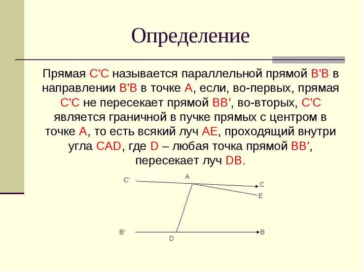 Определение Прямая C'C называется параллельной прямой B'B в направлении B'B в...