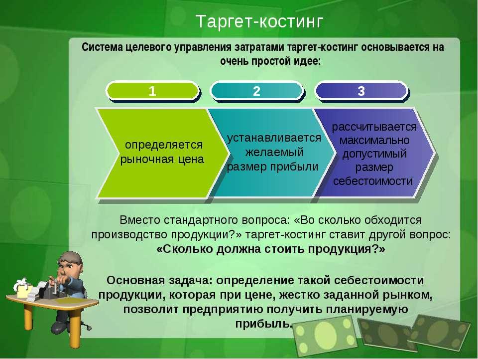 Таргет-костинг Система целевого управления затратами таргет-костинг основывае...
