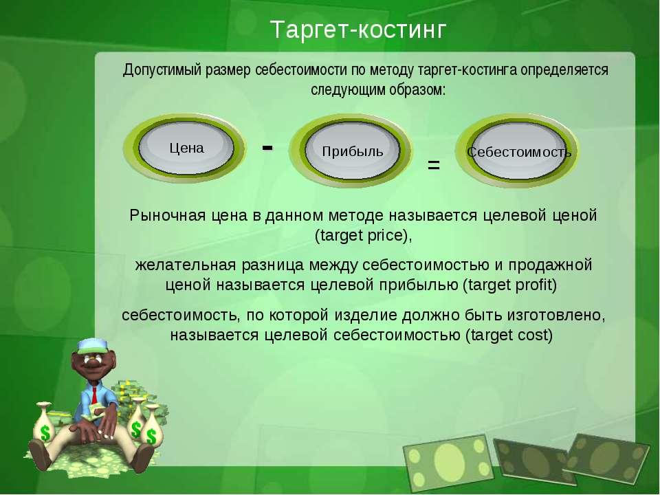 Таргет-костинг Допустимый размер себестоимости по методу таргет-костинга опре...