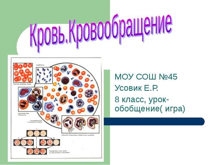 МОУ СОШ №45 Усовик Е.Р. 8 класс, урок- обобщение( игра)