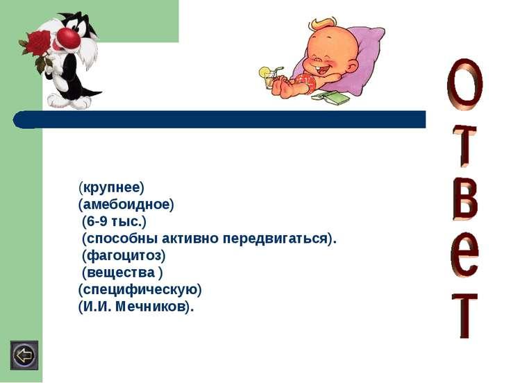 (крупнее) (амебоидное) (6-9 тыс.) (способны активно передвигаться). (фагоцито...
